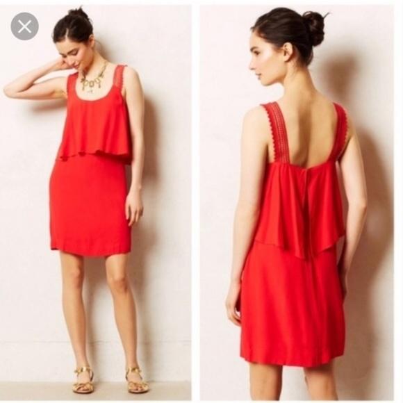 Anthropologie Dresses & Skirts - Maeve   Tisana Crocheted Strap Red Dress Size 8
